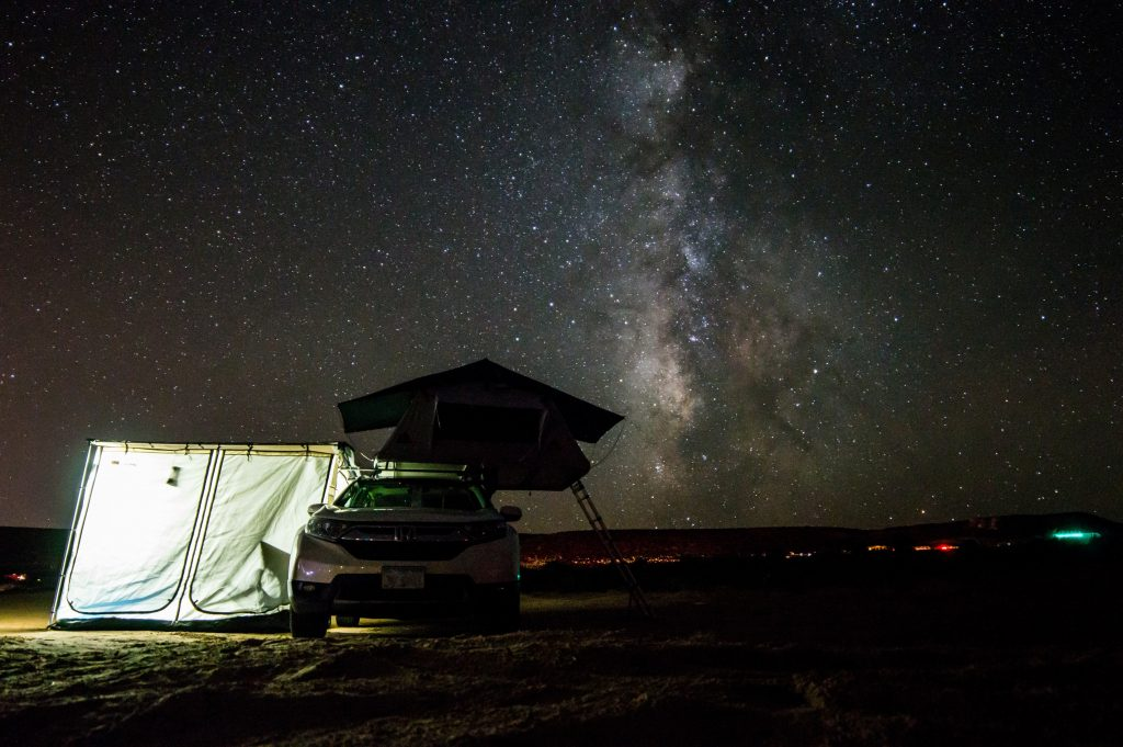 camping in roof top tent