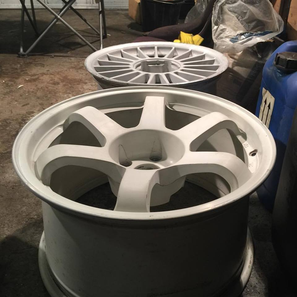 several coats of primer before painting wheels